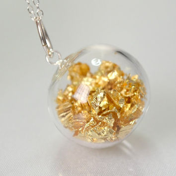 Gold leaf in hand blown glass silver plated necklace