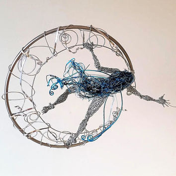 Blue Moon Fairy,unique Home Decor,Steel Wire sculpture,Reaching for Stars,OOAK birthday gift,original art statue,crescent moon magical elf