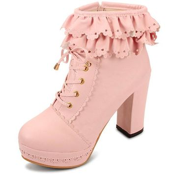 Casual Sweet Cute Lace Zipper Lace Up Chunky Heel Boots