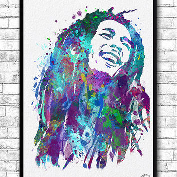 Bob Marley 2 Watercolor Print, Wall Hanging, Giclee wall print, Home Decor, Wall decor, Blue Bob Marley poster, Modern wall artwork, Music