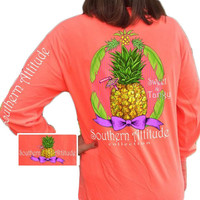 Southern Attitude Preppy Sweet Pineapple Neon Red Orange Long Sleeve T-Shirt
