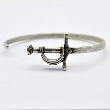 CREYIJ6 1pcs Viking Sword Bangle Men's Alloy Cuff Bracelet Medieval Knight Weapon Jewelry Adjustable Pun Bangle BG01