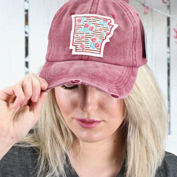 Floral Striped Arkansas Patch Cap {Burgundy}