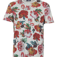 Grey Marl Dark Floral T-Shirt - Men's T-shirts & Tanks - Clothing - TOPMAN USA