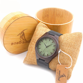 BOBO BIRD Wood Wristwatch With Leather Bands & Bamboo Box