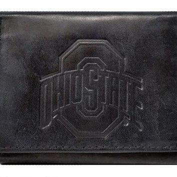 Ohio State Buckeyes NCAA Embossed Logo Black Leather Trifold Wallet