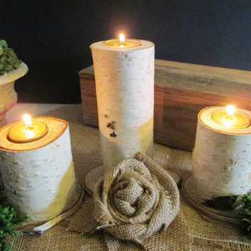 Candle Holders, Birch Wood Candle Holders, Wood Candle Holders, Tea Light Candle Holders