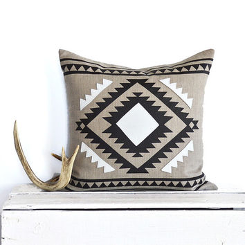 Leather Trim Aztec Border Pillow Cover -  Natural / Black combo