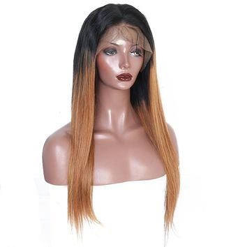 250% Density Brazilian Straight Lace Front Human Hair Wig Pre-Plucked with Baby Hair 1B/30