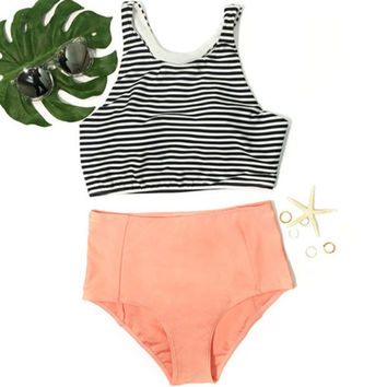 Striped Top and Orange Bottom Bikini sets +Free Gift -Mermaid Necklace