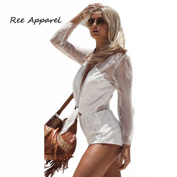 Macacao Feminino Shorts Rompers Womens Jumpsuit Sexy Backless back Transparent Bodycon One Piece Jumpsuits Overalls For Women