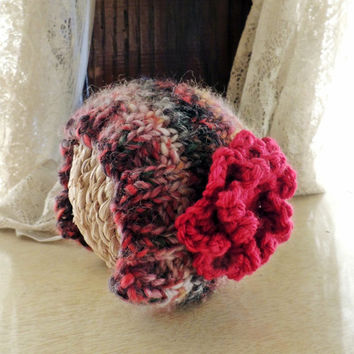 Knit Newborn, Infant Bonnet // wool, embellished, flower, photography prop, multi-colored, pink, red, green, black, prop, baby