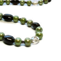 Chartreuse Pearl Necklace with French Roast Chalcedony