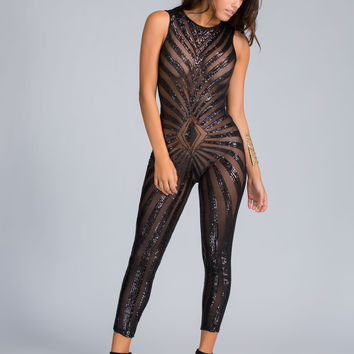 Sequin Trails Sheer Jumpsuit