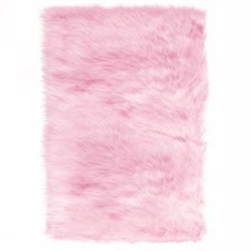 Home Decorators Collection Faux Sheepskin Pink 2 ft. x 3 ft. Accent Rug 5248200140 at The Home Depot - Mobile