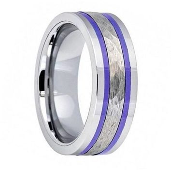 Mens Tungsten Wedding Band Two Indigo Stripes & Shiny Edges Pipe Cut Hammered Center - 8mm