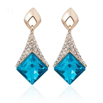 2017 Fashion Geometric Square 5 colors Crystal Drop Earring Rhinestone Long Earrings Female Jewelry For Women brincos