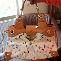 Authentic Louis Vuitton women white monogram Ursula bag
