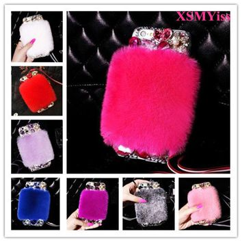 Luxury Bling Rhinestone Warm Soft Beaver Rabbit Fur Hair Phone Case For iphone5C 5S SE 6 6S 7 8 Plus X Protective Phone Hot Sale