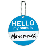Mohammed Hello My Name Is Round ID Card Luggage Tag