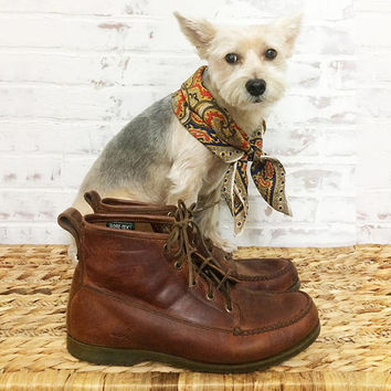 Vintage RUGGED Moc Toe Brown Leather Wilderness Chore Work Boots With Gore Tex    Waterproof Sperry Boots    Size 11