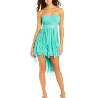 My Michelle Juniors Strapless High-Low Dress with Detailed Waist Band, Mint, 11