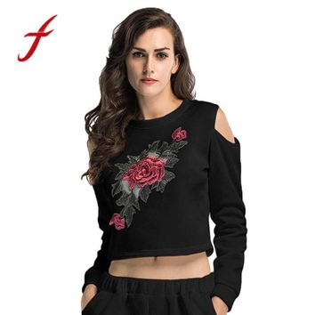 Feitong Women Cropped T Shirts Cold Shoulder Rose Embroidery Long Sleeve Tees Shirts Crop Tops vetement femme camisetas mujer