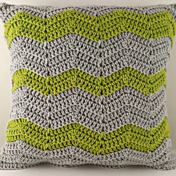 Green and Gray Pillow Case - Crochet Pillow Case - Green Pillow - Gray Pillow - Throw Pillow - Cushion - Accent Pillow - Decorative Pillow