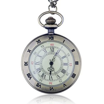 New Fashion Arrive High Quality Men Big Size Black Roma Number Pocket Watch With Chain