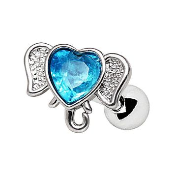 316L Stainless Steel Aqua Heart Elephant WildKlass Cartilage Earring