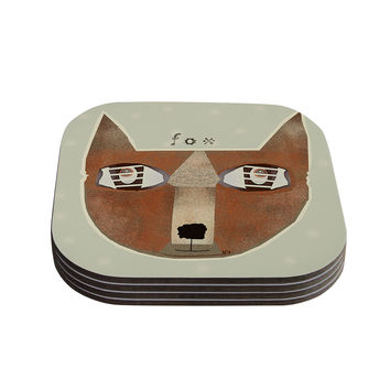 """Bri Buckley """"Fox Face"""" Coasters (Set of 4) - Outlet Item"""