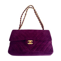 Vintage Chanel Plum Suede Chevron Quilted Double Flap Bag