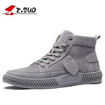 Z.SUO 2019 New Spring Genuine Leather Men's Boots Classic Popular Outdoor Boots Shoes Men High-quality Breathable Tooling Boots