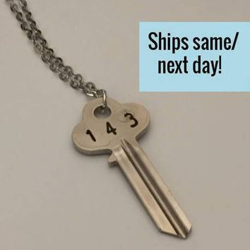 Key Necklace, Engraved Key Necklace, Long Distance Friendship, Long Distance Relationship, Engraved Key, Christmas Gift, Stocking Stuffer