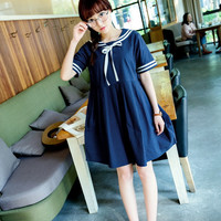 Short-Sleeved Mini Dress with Collar