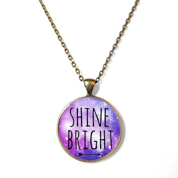 SHINE BRIGHT Galaxy Necklace - Valentine's Day Motivational and inspirational Pendant with Small Arrow