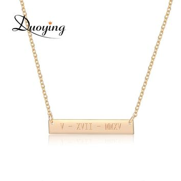 DUOYING 35*6mm Gold Color Bar Custom Engraved Name Necklace For Women Personalized Initial Necklace Chain Necklace Etsy Supplier