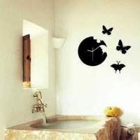 Clock Creative Butterfly Silent Resin Wall Clock with 3 butterflies Color : Black C 03