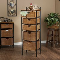 Black and Caramel Wicker Drawers Storage Unit For Extra Storage Anywhere