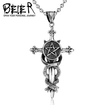 New Biker Cool five star cross furtuna Necklace Pendants For men Punk STAINLESS Steel Jewelry BP8-062