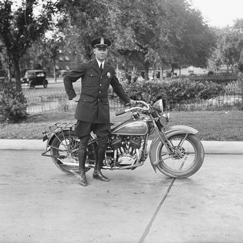 Motorcycle Policeman Reproduction Photograph 8x10 inch