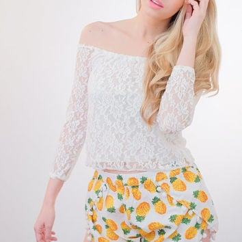 Pineapple Pattern Yellow White Pom Pom Tassel Shorts