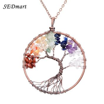 SEDmart 7 Chakra Tree Of Life Pendant Necklace Copper Crystal Natural Stone Necklace