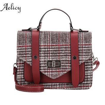 Aelicy Women Leather Shoulder Bag Messenger Satchel Tote Lattice Crossbody Bag 2018 new design Striped grid vintage handbag