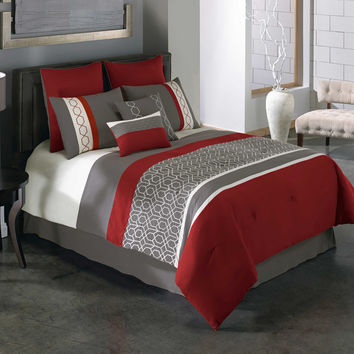 Covington 8-Piece Comforter Set in Red/Grey