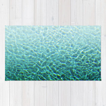 Pool Water 2 - Beach Towel, Turquoise Blue & Green Beach Blanket, Ombre Style Summer Essential Boho Chic Large Sized Towel Throw. In 36x72in