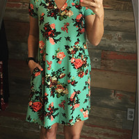 Sunshine Days Floral Pocket Dress: Mint
