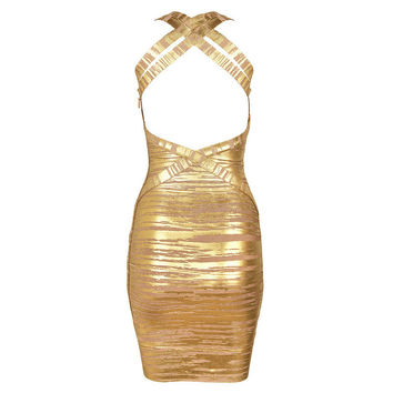 Women's Fashion Sexy Spaghetti Strap Backless Bandages Dress [4919756932]