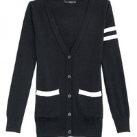 Black V Neck Long Sleeve Cardigan$49.00