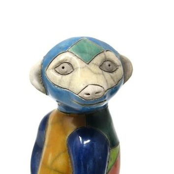 South African RAKU Pottery Large Meerkat Figurine SIGNED